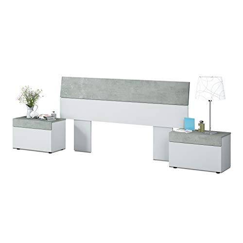 Cabezal + mesitas, Dormitorio, Modelo Tekkan, Acabado en Blanco Artik y Gris Cemento, Medidas: 176 cm (Largo) x 96,5 cm (Alto)