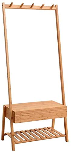 Percheros Rack De Ropa De Bambú Pasillos Colgantes Pasillo 2 Estantes Con Cajón 5 Ganchos Zapatos Sombreros Y Bufandas Organizador De Almacenamiento