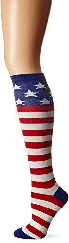 K. Bell Women's Original Series Novelty Knee High Socks, American Flag (Red/White/Blue), Shoe Size: 4-10