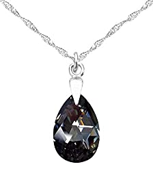 100% Authenticity Guaranteed Crystals From Swarovski Necklace. Eye Catching 45cm Sterling Silver Sparkling Twisted Chain Is Included. A Matching Necklace To Our Very Popular Silver Night Pear Crystals From Swarovski Earrings! Outstanding Quality! Per...