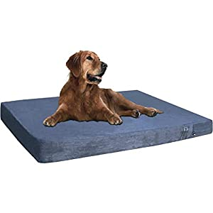Dogbed4less Extra Large Orthopedic Gel Memory Foam Dog Bed, Waterproof Liner, Machine Washable Cover and Extra Pet Bed Case, 40X35X4 Inches