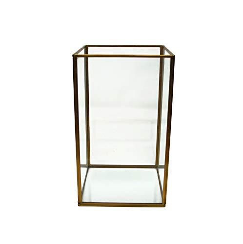 LaLe Living Farol Batu M de hierro en oro vintage, 16 x 27 cm, para velas de pilar y velas de té