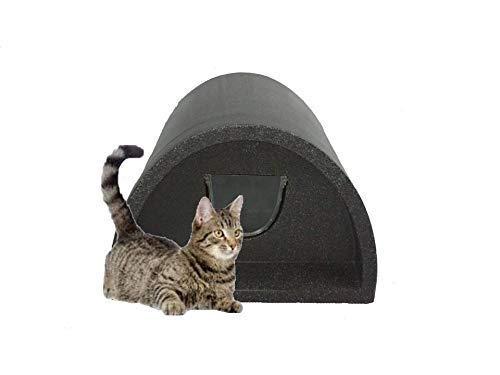 Cosy Cages Katzenhütte für den Außenbereich, mit Klappe, Fleece, Grau