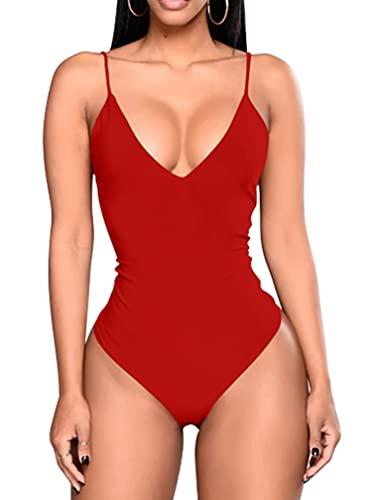 GOKATOSAU Women's Sexy Summer V-Neck Backless Adjustable Spaghetti Strap Club Bodysuits Red