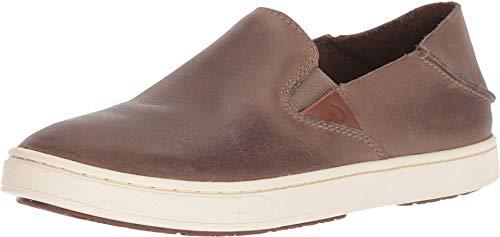 OLUKAI Women's Pehuea Leather Slip On Shoes, Espresso, 11