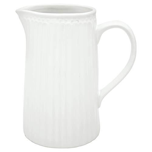 GreenGate Milchkanne Wasserkrug Krug Alice White Jug 1 L weiß Steinzeug Landhaus Vintage