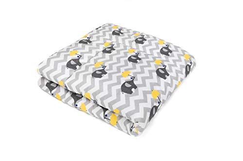 SWADDYL ® Baby Krabbeldecke Elefant - Kuscheldecke, Spieldecke, Laufgittereinlage groß gepolstert grau (120x120)