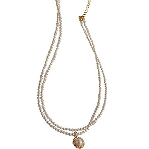 YAZHUANG8 Collar de Perlas de Doble Capa francés Retro Elegante. Cadena de clavícula Femenina Niche Simple