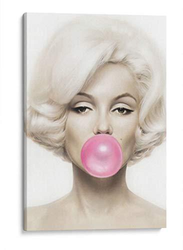 Cuadro decorativo de canvas (lienzo), Marilyn Monroe bubblegum - Fashionista & Íconos y celebridades & Girl power, montado en bastidor de madera de 4.5 cm de profundidad (estilo galería). 30 x 45 cm. Tamaños adicionales disponibles. Perfecto para decorar casa u oficina, y especial para Dormitorio. 100% Garantizado.