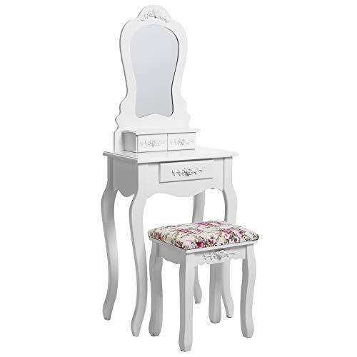 SONGMICS Coiffeuse, Table de Maquillage, avec Miroir et Tabouret, Blanc, 135 x 50 x 30 cm RDT30W