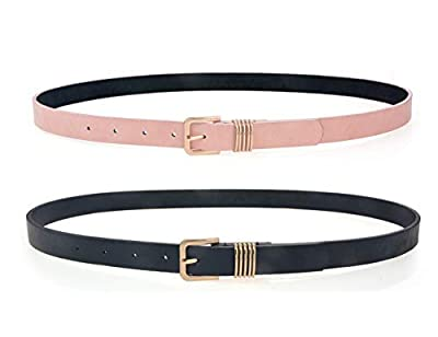 "Belts for Women 2 Pack Waist Skinny Dress Womens Belt for Jeans Pants Black/Pink 0.85""Width S/M"