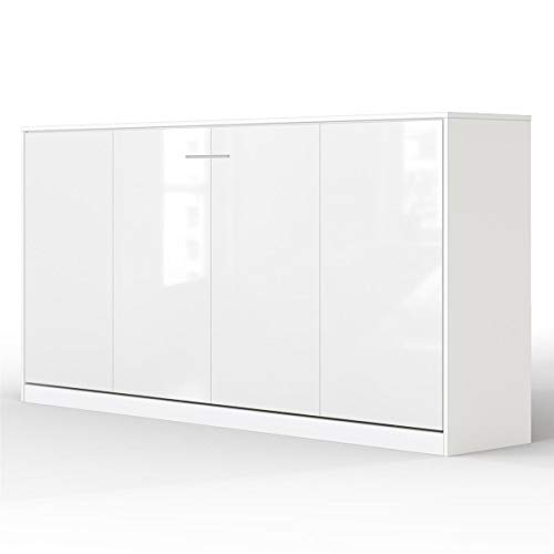 SMARTBett Basic 90x200 Horizontal Weiss/Weiss GlanzSchrankbett   ausklappbares Wandbett, ideal geeignet als Wandklappbett fürs Gästezimmer, Büro, Wohnzimmer, Schlafzimmer