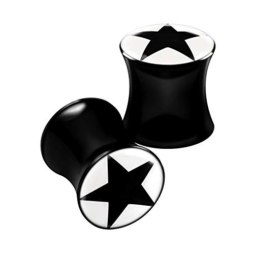 BanaVega 2 piercings de acrílico negro con logotipo de estrella en forma de estrella, dilatador de oreja, para pendientes de lóbulo, para elegir tamaños