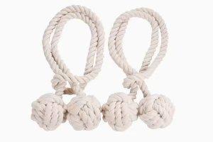 UTRO Ein paar handgemachte Vorhang Raffhalter Vorhang Clips Baumwolle Seil Raffhalter Gardinen Halter Vorhang Schnalle Halter für Haus Dekoration (Beige)