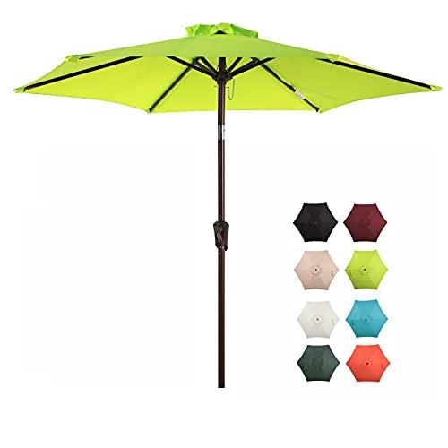COBANA 7.5 ft Patio Umbrella Outdoor Table Market Umbrella with Push Button Tilt and Crank, 6 Ribs, Lime Green