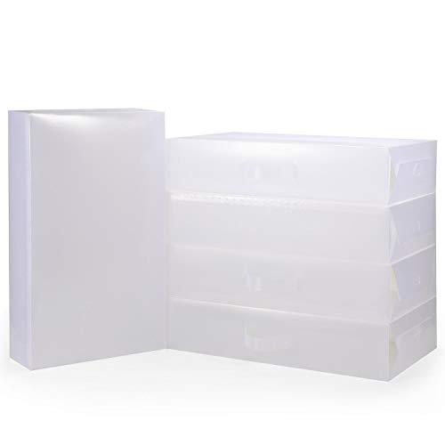 Vinsani Boîte de rangement pliable et empilable pour bottes et chaussures en matière plastique ventilée Transparent 5 PACK