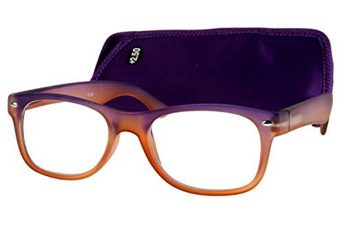 Extravagante designer leesbril dames heren grote glazen lila oranje transparant met veerbeugel en brillenkoker leeshulp kijkhulp 1,5 2.0 2.5 3.0 3.5 Dioptrien 3.0 Grijs blauw doorzichtig