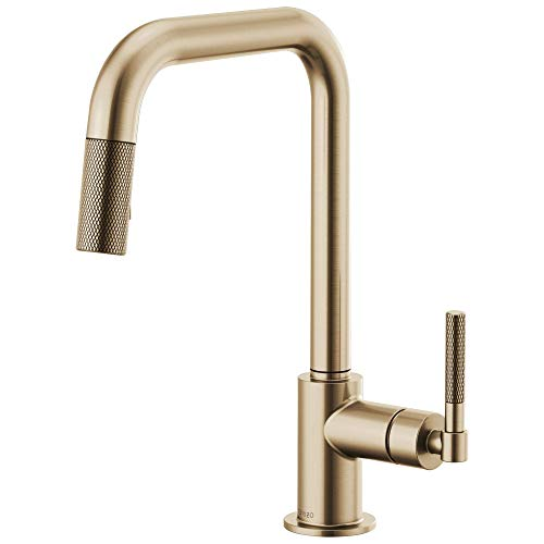 Brizo 63053LF-GL Litze Pull-Down Faucet with Square Spout and Knurled Handle In Luxe Gold