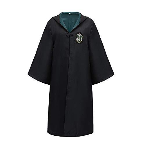 ZHONGXIN Disfraz de Mago Túnica Negra Larga de Caballero Uniformes Cosplay Asistente Adulto Capa con Capucha Disfraces (C,S)
