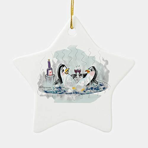 happygoluck1y Adorno de pingüinos de bañera de hidromasaje, adornos de porcelana de Navidad, adornos de decoración de árbol de Navidad, regalos de cuarentena 2020, adornos de recuerdo, para ni