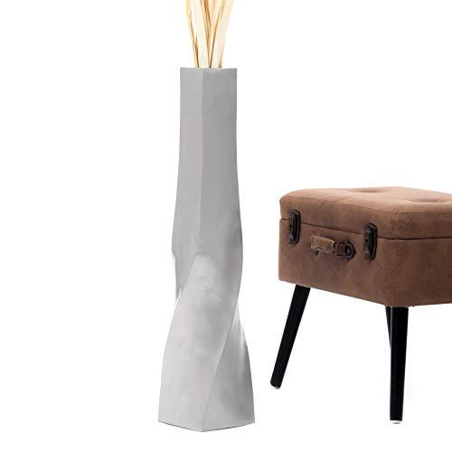 Leewadee Grande Vaso da Terra per Rami Decorativi Vaso Alto da Interno 75 cm, Legno di Mango, Argento