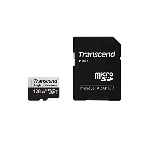 Transcend 高耐久 microSDカード 128GB UHS-I U1 Class10 ドライブレコーダー セキュリティカメラ用 SDカード変換アダプタ付 安心の2年保証 TS128GUSD350V-E 【Amazon.co.jp限定】