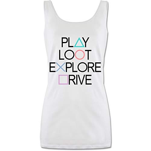 Nerds & Geeks - Play, Loot, Explore, Drive Gamer Shirt - schwarz - S - Weiß - Fun - P72 - Tanktop für Damen und Frauen Tops