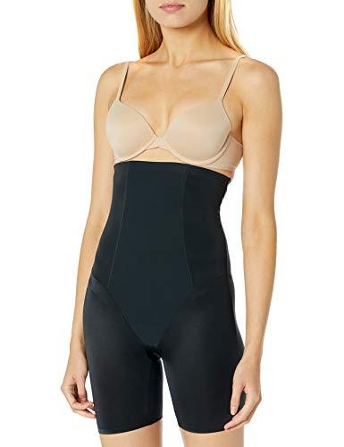 Arabella Women's Shine High Waist Thigh Control Shapewear with Spacer, Black, Small