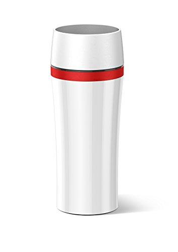 Emsa 514579 Isolierbecher, Mobil genießen, 360 ml, Quick Press Verschluss, Weiß/Rot, Travel Mug Fun