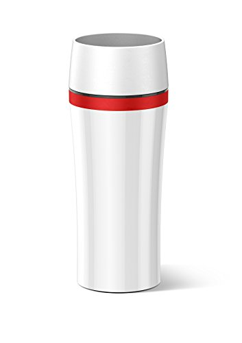 Emsa 514579 Isolierbecher, Mobil genießen, 360 ml, Quick Press Verschluss, Weiß/Rot, Travel Mug Fun