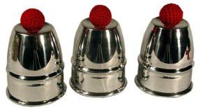 ProTriXX Cups and Balls Aluminium, Becherspiel für Zauberkasten, Zaubertricks und Zauberartikel, Bälle Verschwinden und erscheinen unter den Bechern, Zauberzubehör