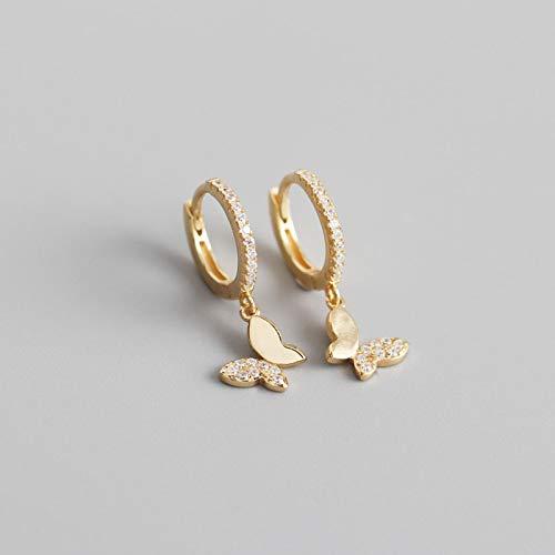 WWWL Aretes 925 Pendientes de aro de Mariposa de Plata esterlina para Las Mujeres de Oro Brillante joyería Regalos GoldColor
