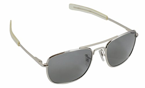 HUMVEE HMV-52B-MATT Polarized Bayonette Style Military Sunglasses with Gray Lenses and Matte Silver Frame, 52mm