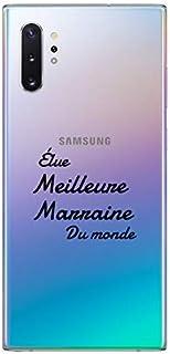 "ZOKKO Case for Samsung Note 10 Plus with""Best Godmother of the World"" Design - Transparent - Black Ink"