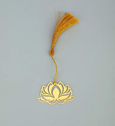 ADORAA's Floral Lotus Golden Brass Metal Bookmark with Golden Tassel - Perfect Gift for Friends & Family