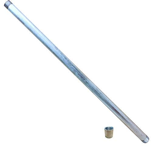 Starkwandrohr 1m verzinkt mit Muffe_-=-_ Stahlrohr zum Brunnen bohren/bauen mit Erdbohrer Brunnenrohr Rammfilter eines Rammbrunnen oder Schlagbrunnen