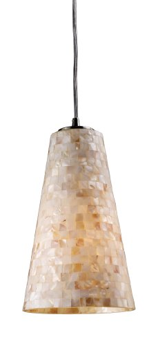 Elk 10142/1 Capri 1-Light 6-Inch Width by 11-Inch Height Pendant in Satin Nickel