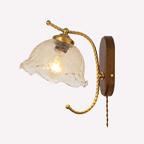 LMAMZ Aplique de Pared Vaso Vintage, Lámpara de Pared Dormitorio con Interruptor y 2.5m Cable, Base de Madera, E27 Luz de Lectura Cabecera Creativo para Sala de Estar Pasillo,A