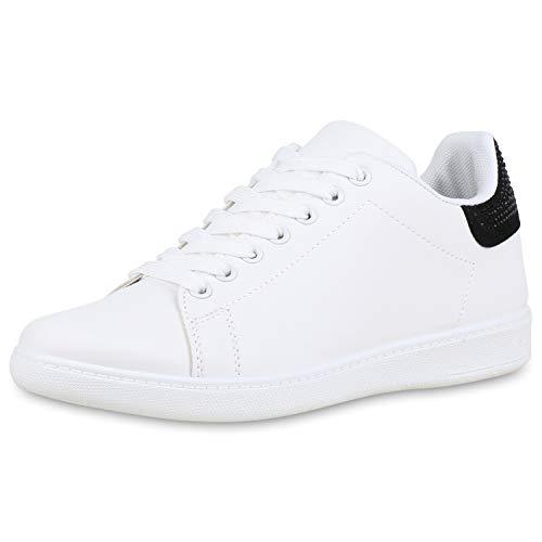 SCARPE VITA Damen Sneaker Low Strass Freizeitschuhe Schnürer Leder-Optik Schuhe Flats Turnschuhe Modische Sportschuhe 176967 Schwarz Strass 38