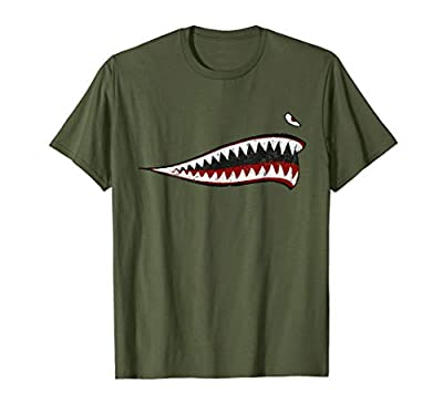 Shark Teeth P-40 Warhawk Nose Art WWII WW2 Airplane Vintage T-Shirt