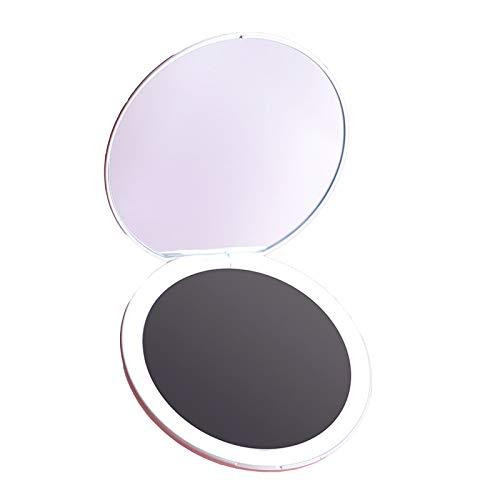 JINBAO Espejo de Maquillaje LED Portátil Plegable Espejo de Doble Cara con Luz [Goddess Portable Set-Smart Sensor] Blanco