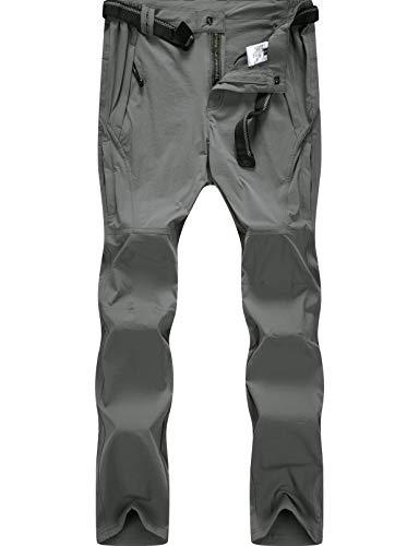 BenBoy Pantalon Montaña Hombre Secado Rápido Impermeable Pantalones Trekking Escalada Senderismo Acampada Transpirables y Ligeros,KZ9948M-Grey-S