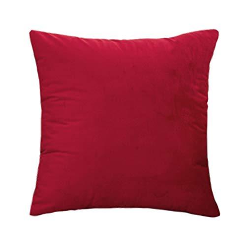 WOWEI Fundas de Cojines Terciopelo Square Color Sólido Funda de Almohada Cremallera Oculta Decoración para Hogar Sofás Camas Coche Sillas,Rojo,45X45 CM