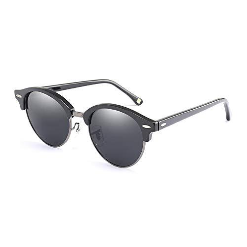 Sunglass Fashion Vacaciones conduciendo Gafas de Sol Gafas HD polarizadas Metal Aviator Gafas (Color : Black, Size : Free)