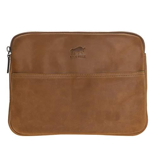 Solo Pelle Ledertasche für das Apple iPad Pro 10,2 Zoll / 10,5 & 11 Zoll und auch 9,7 Zoll Lederhülle Case Hülle Awenta aus echtem Leder in Cognac Braun