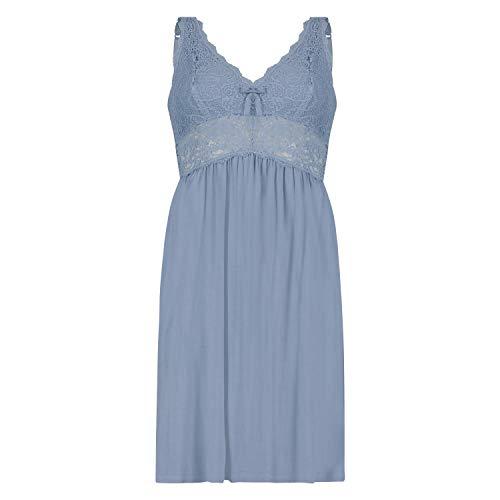 HUNKEMÖLLER Slipdress Modal Lace mit Spitze Blau XL