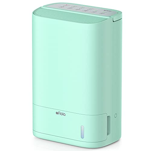 Afloia Deshumidificador para habitaciones medianas y sótanos con filtro lavable y manguera de drenaje continuo, silencioso y eficiente control de humedad inteligente