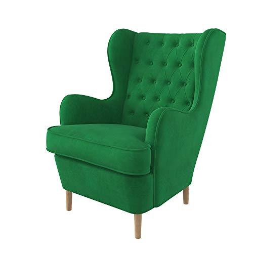 Furninero - Sillón orejero, Estilo Chesterfield, capitoné con diseño de Diamante de Botones Profundos, Patas Redondeadas de Roble, Majestic Velvet Green Tela (Resistente a Las Manchas), Verde