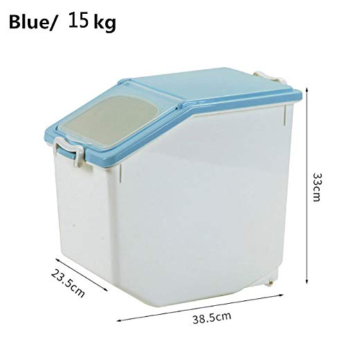 15 Kg Portable Rice Storage Box Plastic Cereal Grain Bean Food Container With Locking Lid For Bread Flour Sugar Dry Bulk Food Baking Supplies 18.8x 25 X22.5cm