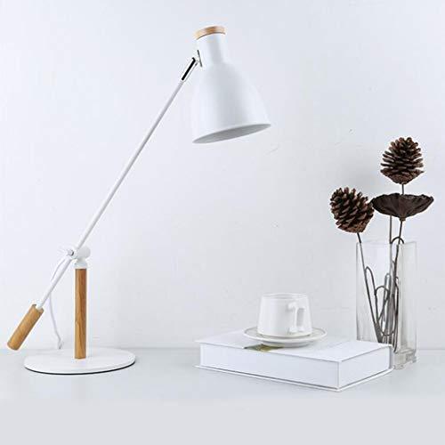 Lámpara de noche de trabajo de brazo largo de trabajo con brazo largo de metal Renovación de hotel Lámpara de mesa de ingeniería LED Lámpara de ojo de aprendizaje (Color : White)